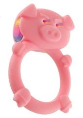 Розовое кольцо на пенис с вибрацией MAD PIGGY C-RING