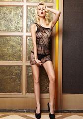 Прозрачное платье с полосочками