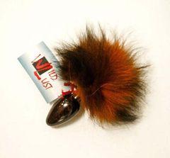 Чёрная анальная пробка с оранжево-черным заячьим хвостом - 8 см.