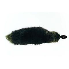 Черная анальная пробка с зеленым лисьим хвостом