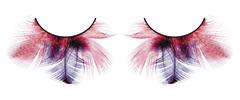 Красно-фиолетовые ресницы-перья