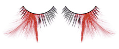 Ресницы чёрные-красные  перья