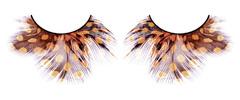 Жёлто-коричневые пушистые ресницы-перья