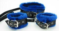Набор из наручников и ошейника с синим мехом BDSM Light