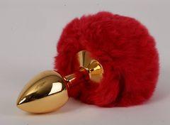 Золотистая анальная пробка c пушистым красным хвостом  Задорный Кролик