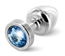Серебристая пробка с голубым кристаллом  ANNI round Silver T1Blue - 6 см.