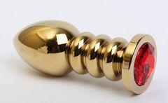 Золотистая фигурная анальная пробка с красным стразом - 10,3 см.