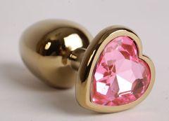 Золотистая анальная пробка с розовым стразиком-сердечком - 9 см.