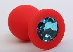Красная силиконовая пробка с голубым стразом - 8,2 см.