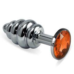 Серебристая ребристая пробка с оранжевым кристаллом размера M - 8,5 см.