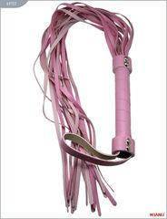 Розовый кожаный флогер с 21 хвостом - 56 см.