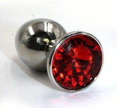 Серебристая алюминиевая анальная пробка с красным кристаллом - 8,4 см.