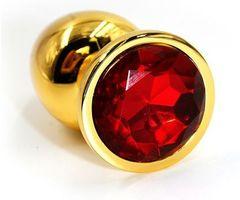 Золотистая алюминиевая анальная пробка с красным кристаллом - 8,4 см.