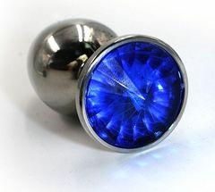 Серебристая алюминиевая анальная пробка с синим кристаллом - 8,4 см.