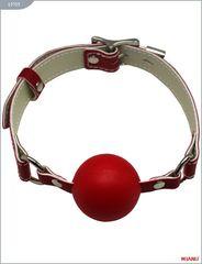 Красный пластиковый кляп с фиксацией кожаными ремешками