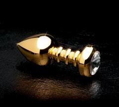 Золотистая анальная пробка с кристаллом Luv Plug - 10,1 см.
