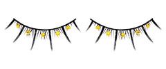 Чёрные ресницы с жёлтыми стразами
