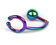 Радужное эрекционное кольцо с анальным плагом Rainbow Horse Shoe Ring with 40mm Diameter Ball