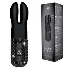 Чёрный вибратор с ушками The Pocket Rabbit, украшенный кристаллами