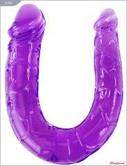 Фиолетовый двусторонний фаллоимитатор - 29,8 см.