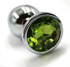 Серебристая алюминиевая анальная пробка с светло-зеленым кристаллом - 7 см.